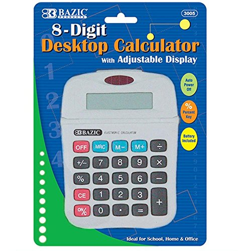 Bazic 8-Digit Calculator W/ Adjustable Display (Pack Of 72)