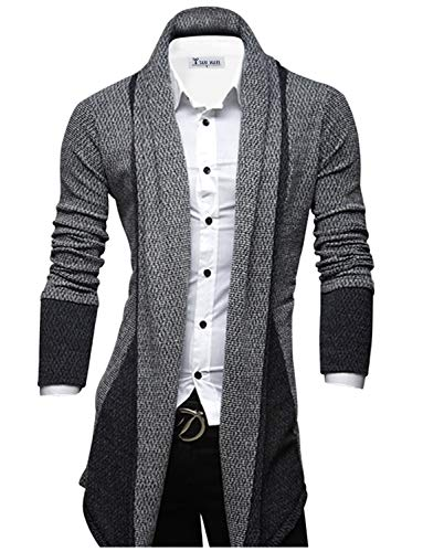 TAM WARE Mens Classic Fashion Marled Open-Front Shawl Collar Cardigan TWGG1308-GRAY-US S (Best Way To Store Sweaters In Closet)