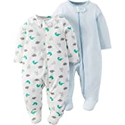 Child Of Mine by Carter's Baby Boy Sleep N Play, 2-Pack, Dinos & Blue (0-3 Months)