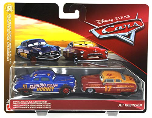 Disney Pixar Cars Dirt Track Fabulous Hudson Hornet and Jet Robinson 2 Pack