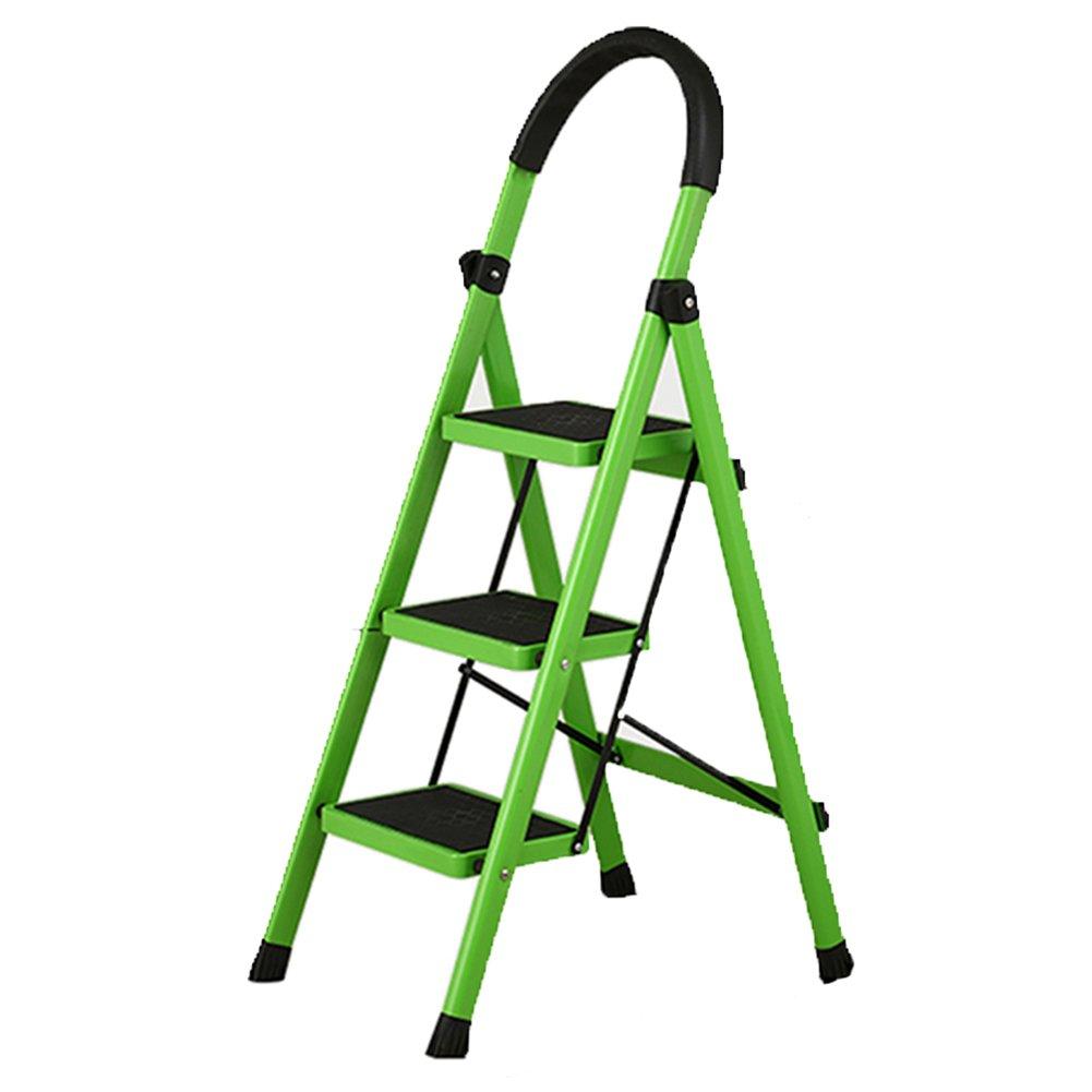 TH ラダー折りたたみ式3階段ラダー家庭用ラダー屋内ラダー可動式ラダー多機能式エスカレーターロード150kg (色 : Green) B07F5Y66HJ  Green