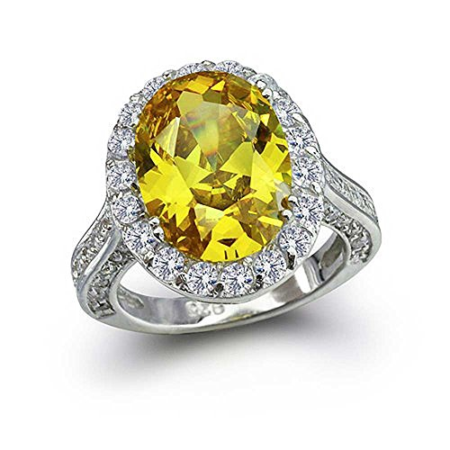 Bling Jewelry 925 Sterling Silver Oval 6 Carat CZ Canary Yellow Engagement Ring - Size 5 Canary Engagement Rings
