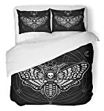 Emvency 3 Piece Duvet Cover Set Breathable Brushed Microfiber Fabric Moth Dead Head Mystical Circle Esoteric Symbol Sacred Geometry Sign of The Moon Bedding Set with 2 Pillow Covers Full/Queen Size