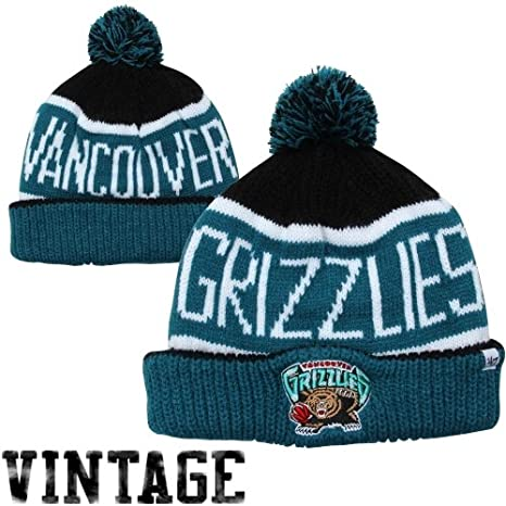 a82eb987861 Amazon.com   Vancouver Grizzlies Black Calgary Cuffed Pom Knit Beanie Hat    Cap   Sports Fan Apparel   Sports   Outdoors