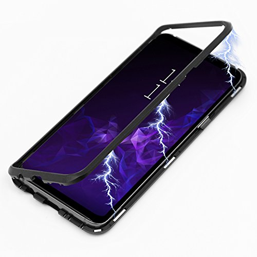 Galaxy S9 Plus Case, Diaxbest Ultra Slim Magnetic Adsorption Metal Case, Aluminum Alloy Frame Hard Clear Tempered Glass Back Cover Support Wireless Charging for Samsung Galaxy S9 Plus (Clear Black)