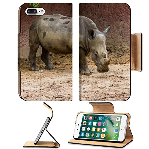 Luxlady Premium Apple iPhone 7 Plus Flip Pu Leather Wallet Case iPhone7 Plus 34813338 White Rhino Ceratotherium simum standing in the - Amaryllis Bush