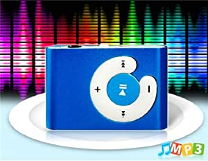 C Button Design Metal Clip MP3 Player with TF Card Reader (Blue)
