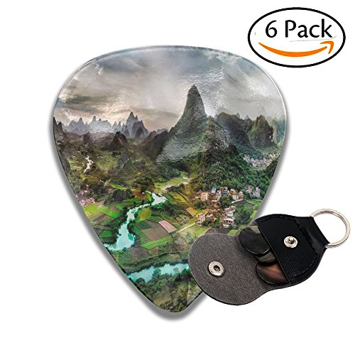 The Mountian For Acoustic 6 Pack Guitar Picks,Celluloid Medium, Include Guitar Picks Holder Case,Stocking Stuffers For Men And Women Guitarists Collectible Set ()