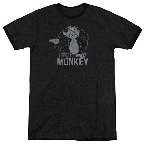 Family Guy Evil Monkey Mens Adult Heather Ringer Shirt Black Md