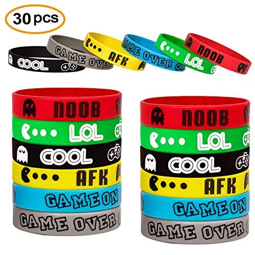 Video Game Bracelets Party Favor Gamer Birthday Supplies Goody Bag Kids Teen Tween Size Wrist Bands 30 Pack (Game Video Erasers)
