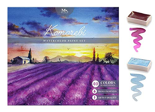 MozArt Supplies Komorebi Japanese Watercolor Paint Set - 40 Colors - Including Metallic and Neon - Artist Quality - Richly Pigmented- Perfect for Artists, Students or Hobbyists ()