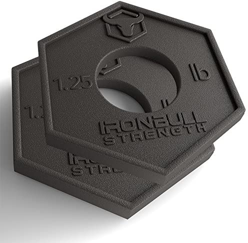 Iron Bull Strength Olympic Fractional Plates 1.25 lb Pair – Set of 2 x 1.25 Pound Weight Plates, for Olympic Bars – Micro Loading 2.5 Pound