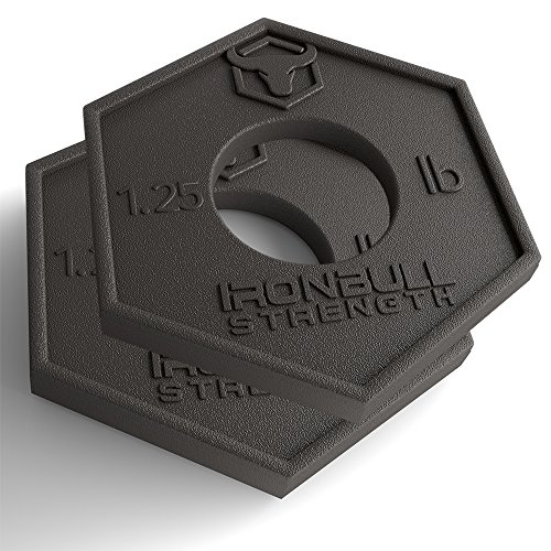 Iron Bull Strength Olympic Fractional Plates 1.25 lb (Pair) - Set of 2 x 1.25 Pound Weight Plates, for Olympic Bars - Micro Loading 2.5 Pound