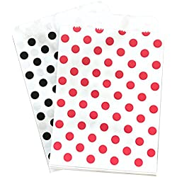 Black Red and White Paper Treat Sacks Polka Dot Favor Bags - 5.5 x 7.5 inches - 48 Pack
