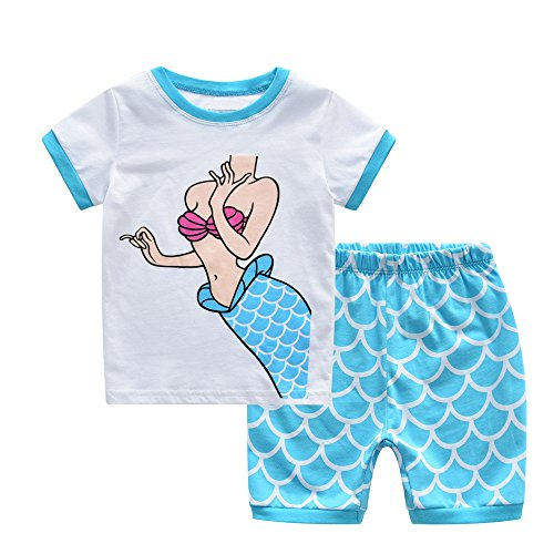MyFav Big Girls Little Girls' Pretty Horse Pajamas Cute Mermaid Cotton Sleepwear 2PCS -