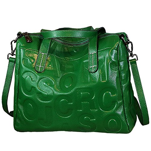New Fashion Handbags For Ladies Cowhide Shoulder Bag Retro Soft Leather Handbags Women Messenger Bag Green