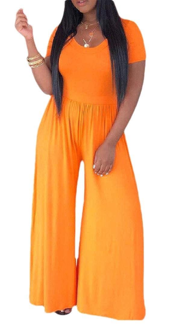 Jmwss QD Womens Casual Solid Short Sleeve Wide Leg Long Pants Romper Jumpsuits