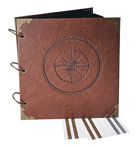 Navigating Life, Compass - Engraved Travel Adventure Book, Hard Cover, Ring Bound Scrapbook, Photo Album (Black Sheets, 10.5