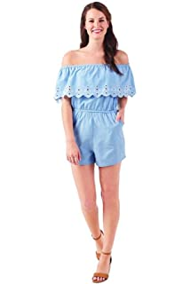 07943d588da Mud Pie Women Matching Moms   Minis Juniper Off-The-Shoulder Romper Blue