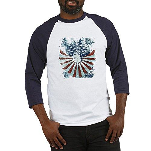 Royal Lion Baseball Jersey US Flag Eagle Military American Pride - Blue/White, Large