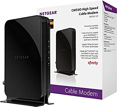 NETGEAR Modem Docsis 3.0 MAX Download Speeds of 680Mbps for XFINITY by Comcast, Time Warner Cable, Cox, Charter & More (CM500) - Certified Refurbished