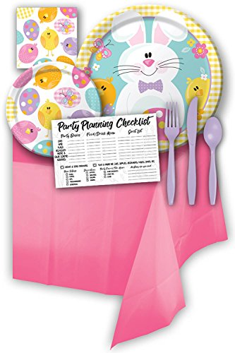 Easter Bunny Picnic Themed Party Supply Pack Bundle - Serves