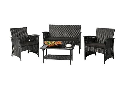 Patio Furniture Conversation Set 4 Piece Waterproof Wicker