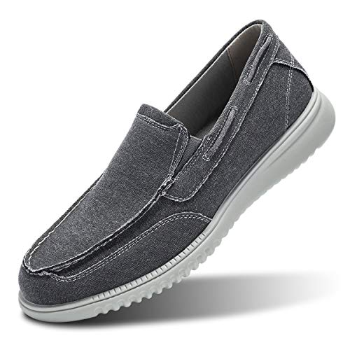 Men's Boat Shoes Slip On-Smart Casual Work Loafer Stylish Moc Toe Walking Driving Shoes Grey 9
