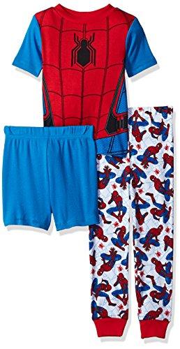 Marvel Little Boys' Spiderman 3-Piece Cotton Pajama Set, Blue, 6