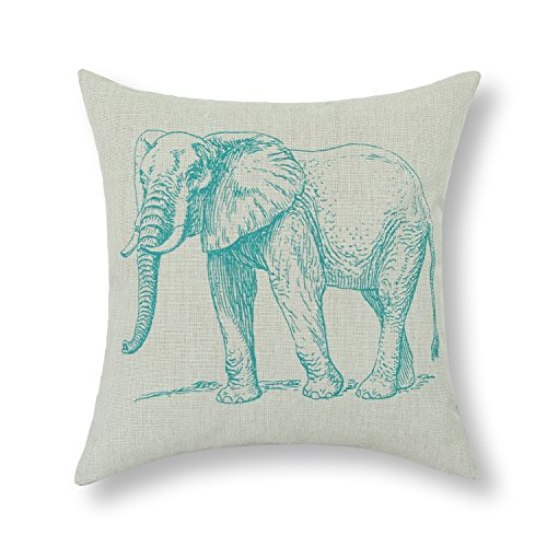 CaliTime Canvas Throw Pillow Cover Shell for Couch Sofa Home Decor, Hand Sketch Elephant Print 18 X 18 Inches, Teal