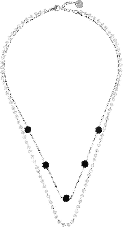 styleBREAKER Collar de Capas de Acero Inoxidable para Damas 2 Filas con Cuentas y Colgantes de plástico, Cadena de Ancla, Cadena, Joyas 05030067