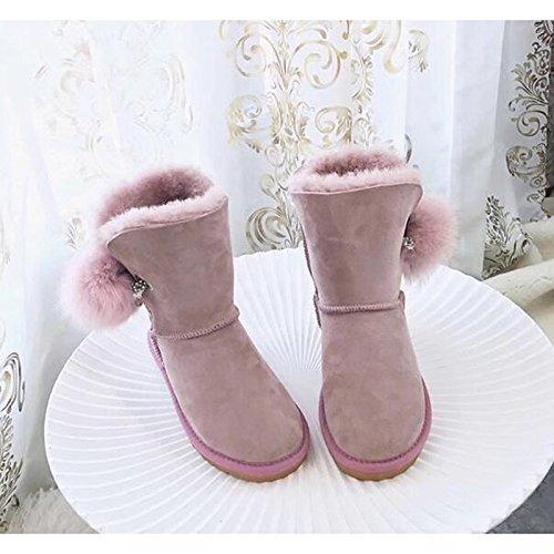 Snow Comfort chiaro Round Calf per Boots Inverno Casual Scarpe donna HSXZ Light scarpe stivali pelliccia tacco Autunno piuma Mid Pink piatto Toe stivali rosa nfYXxpq