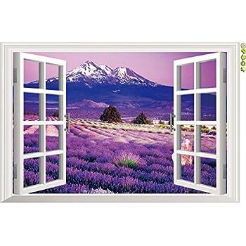 Amazon Com Amaonm 174 3d Landscape Lavender Flowers Fake
