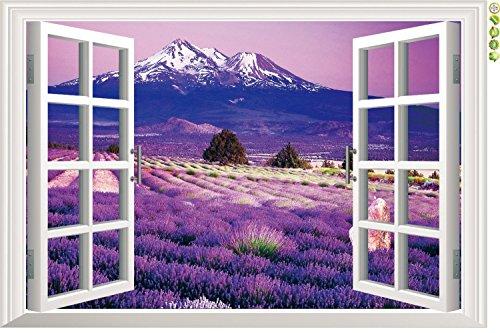 Amaonm 3D Landscape Lavender Flowers Fake Window Sticker Wall Decals Huge Removable 3D Window View Wall Art Wallpaper Murals Wall Stickers Peel & Stick (9234b) -