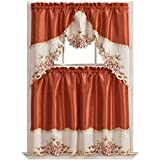 GOHD Arch Floral Kitchen Curtain Set/Swag Valance & Tier Set. Nice Matching Color Floral Embroidery on Border with cutworks (Beige)