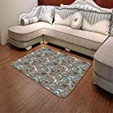 TecBillion Ultra-Soft Mat,Dog Lover,for Kitchen Living Room,55.12'' x78.74'',Paw Print Background with Pet Canine