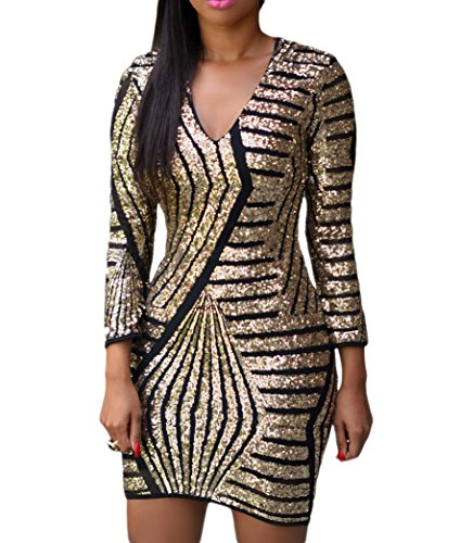 [made2envy Long Sleeve Gold Sequin Dress (M, Black) LC22575MB] (Womens Black Sequin Short Dress)