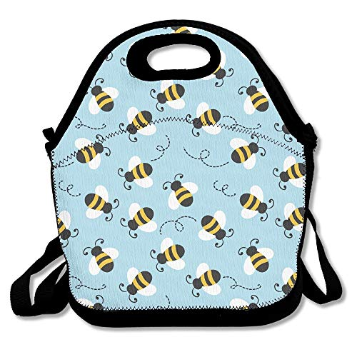 Bumblebee Pattern Lunch Tote Insulated Reusable Picnic Lunch Bags Boxes For Men Women Adults Kids Toddler Nurses
