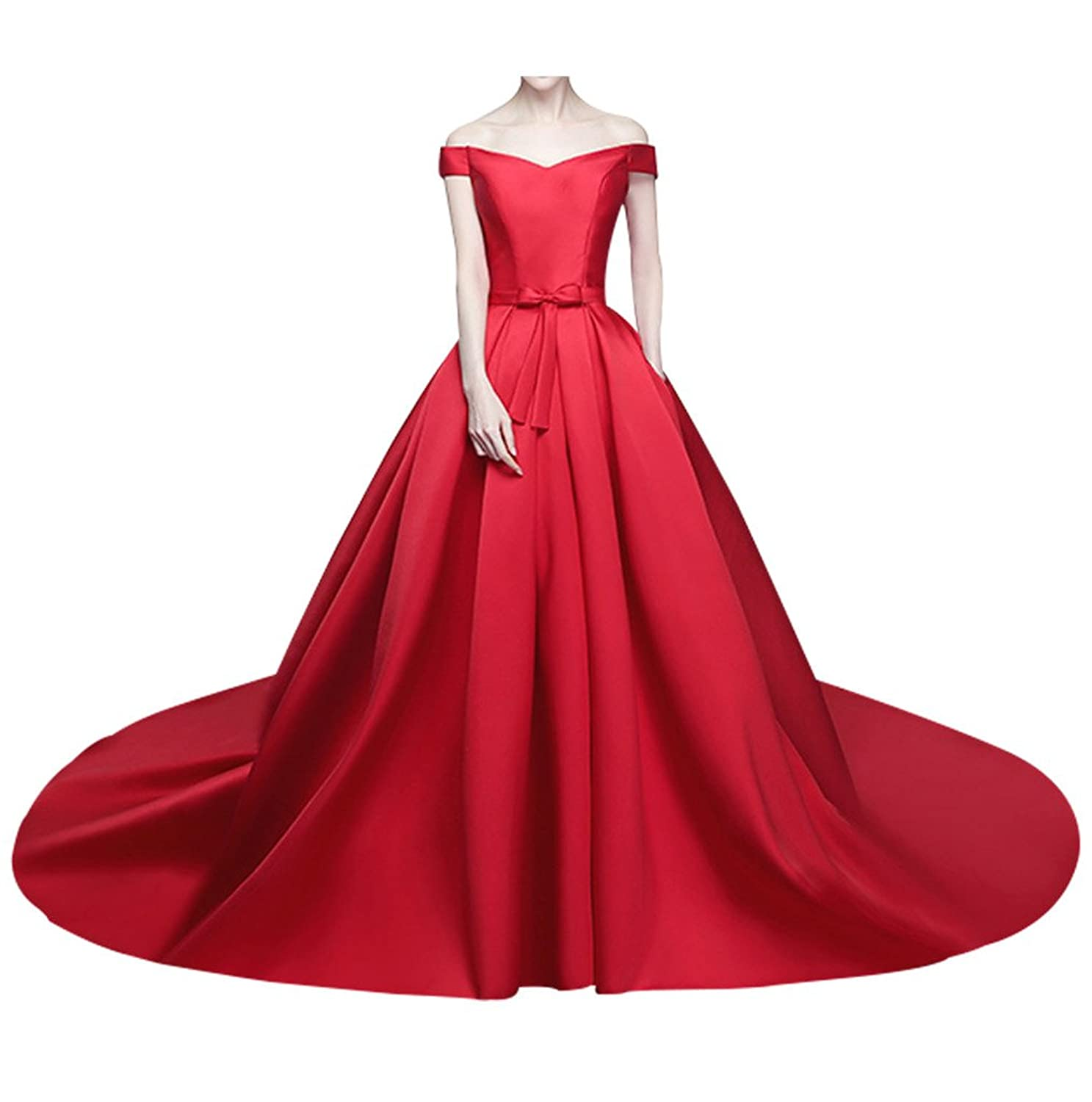 Charm Bridal Princess Red Satin Off Shoulder Wedding Dress for Bride with Train