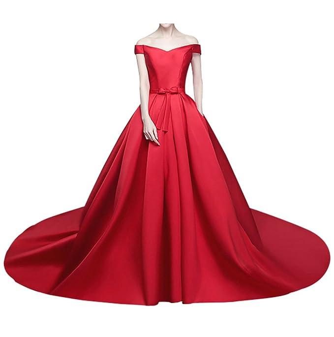 Charm novia princesa rojo Off de hombro vestido de novia de raso para novia con tren