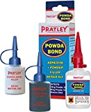 Pratley PowdaBond Plastic Glue - Acrylic, Contact Dual Adhesive (Auto) Repair Kit and Filler - Heavy Duty, Quick Set, High Temperature, Strong - For Most Plastics, Metals, Glass and Rubber