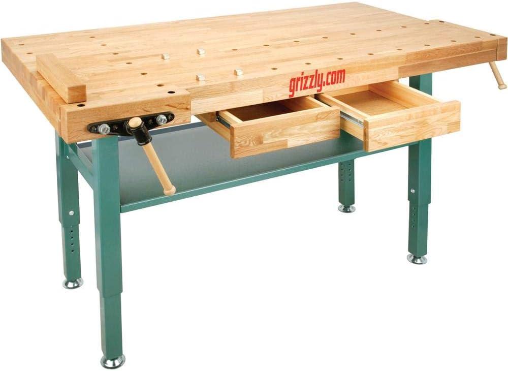 Grizzly Industrial T10157 - Heavy-Duty Oak Workbench with Steel Legs - Multi Function Power Tools -