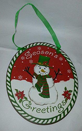 Giftcraft Rustic Oval Christmas Tin Ornament (Seasons Greetings)
