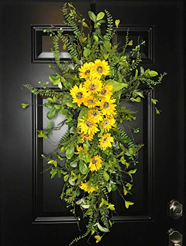 Extra Large Sunflower Floral Teardrop Swag Wreath for Front Door Porch Indoor Wall Farmhouse Decor Spring Springtime Summer Summertime Mothers Day Gift, Handmade, Yellow Green, 3 Sizes 42