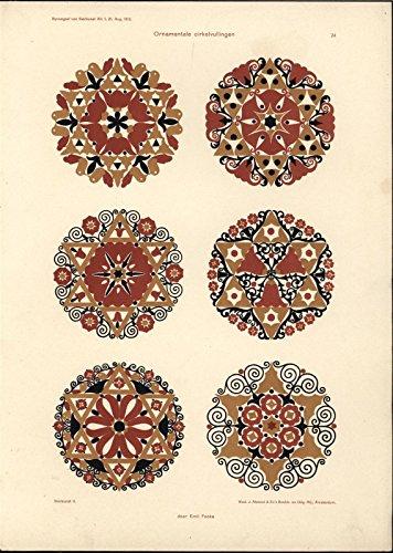 Exquisite Decorative Circular Patterns c.1913 vintage color Art Nouveau print -
