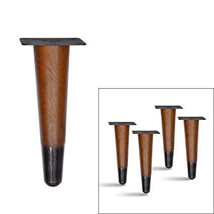 Incredible 4 Pcs Set Straight Wood Furniture Legs Sofa Legs Bench Legs Table Legs With Metal Footings 6H Dark Bronze Footing Caraccident5 Cool Chair Designs And Ideas Caraccident5Info