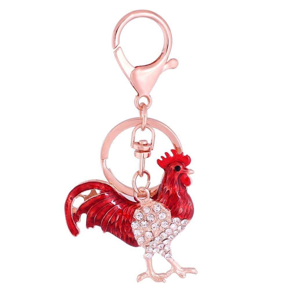 Axmerdal - Llavero de gallina con diseño de gallo de cristal ...