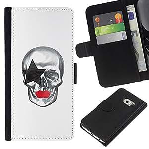 LECELL--Cuero de la tarjeta la carpeta del tirón Smartphone Slots Protección Holder For Samsung Galaxy S6 EDGE -- La estrella del cráneo --