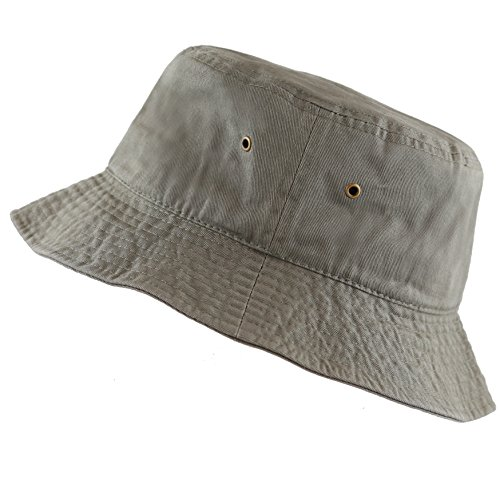 The Hat Depot 300N Unisex 100% Cotton Packable Summer Travel Bucket Hat (S/M, Olive)