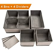 Set of 4 Organizer Bins with Dividers for Closet Dresser Drawer Inserts Bathroom Dorm or Baby Nursery; Store Socks Underwear Clothes; Clothing Organization; Organizador de Closet; (Set of 4, Gray)